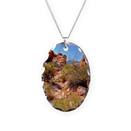 Calico Red Rock Necklace Oval Charm