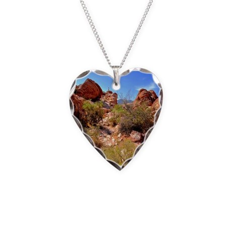 Calico Red Rock Necklace Heart Charm
