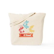 Kawaii and Funny Cartoon on C Food (Seafood) Tote