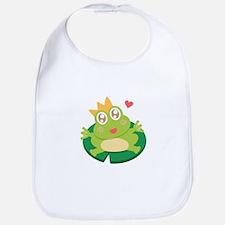 Kawaii cartoon of frog prince on a lily pad Bib