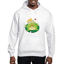 Kawaii cartoon of frog prince on a lily pad Hoodie