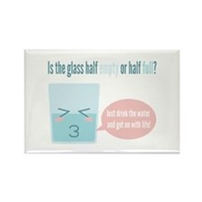 Funny glass half full cartoon Rectangle Magnet
