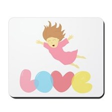 Cute Cartoon Girl Falling into Love Mousepad