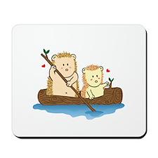 Cute Hedgehog couple sailing on wooden boat Mousep