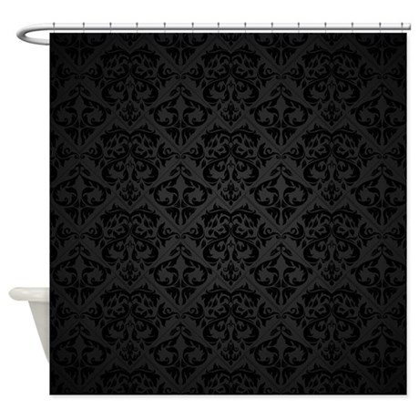 Elegant Black Flourish Shower Curtain By BestShowerCurtains