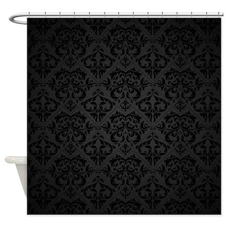 elegant black flourish shower curtain by bestshowercurtains