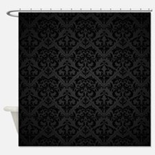 Elegant Black Flourish Shower Curtain