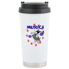 Murica Eagle and Cowboy Travel Mug