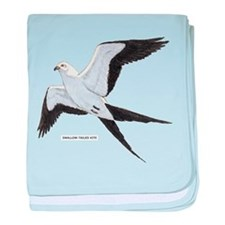 Swallow-Tailed Kite Bird baby blanket