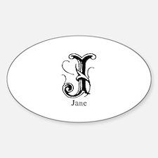 Jane: Fancy Monogram Oval Decal