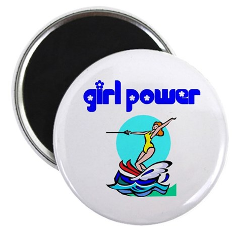 Girl Power Waterskiing Magnet