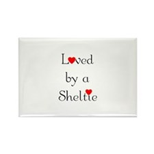 Loved by a Sheltie Rectangle Magnet (10 pack)