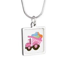 Easter Jelly Bean Dump Truck Silver Square Necklac