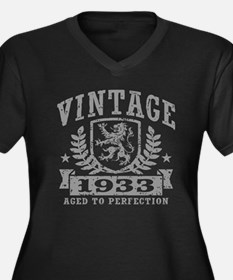 Vintage 1933 Women's Plus Size V-Neck Dark T-Shirt