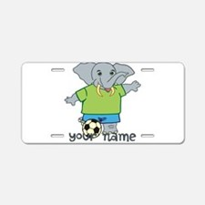 Personalized Soccer Elephant Aluminum License Plat