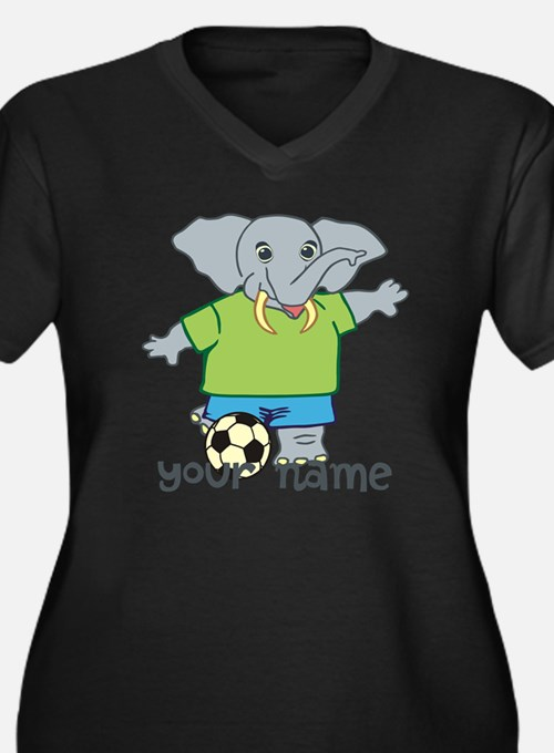 Personalized Soccer Elephant Plus Size T-Shirt