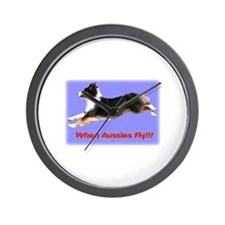 When Aussies Fly!!!  Black Tr Wall Clock