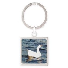 White Goose Square Keychain