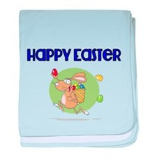 Happy Easter with Easter Bunny baby blanket