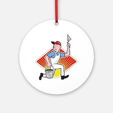 Plaster Masonry Worker Cartoon Ornament (Round)