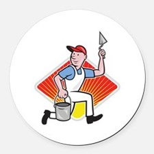 Plaster Masonry Worker Cartoon Round Car Magnet