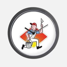 Plaster Masonry Worker Cartoon Wall Clock
