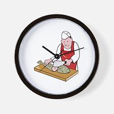 Sushi Chef Butcher Fishmonger Cartoon Wall Clock