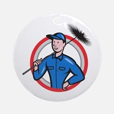 Chimney Sweeper Cleaner Worker Retro Ornament (Rou