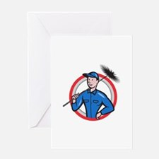 Chimney Sweeper Cleaner Worker Retro Greeting Card