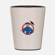 Chimney Sweeper Cleaner Worker Retro Shot Glass