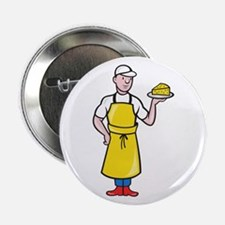 """Cheesemaker Holding Plate of Cheese 2.25"""" Button"""