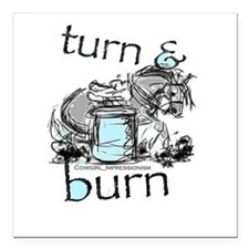 "Turn and Burn Barrel Racing Square Car Magnet 3"" x"