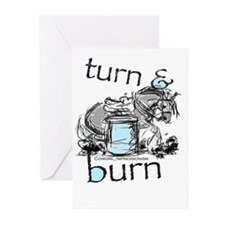 Turn and Burn Barrel Racing Greeting Cards (Pk of
