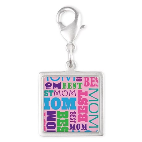 Best Mom Design Gift Silver Square Charm