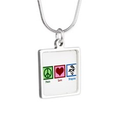 Peace Love Dragons Silver Square Necklace