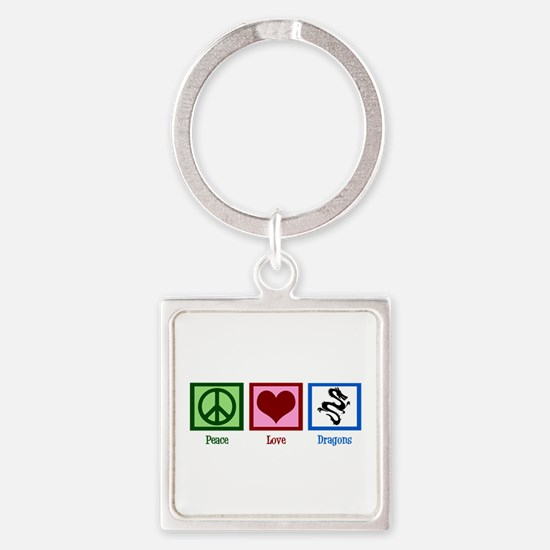 Peace Love Dragons Square Keychain