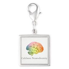 Celebrate Neurodiversity Silver Square Charm