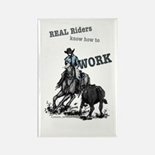 Real Western Cutting Horse Rectangle Magnet