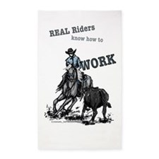Real Western Cutting Horse 3'x5' Area Rug