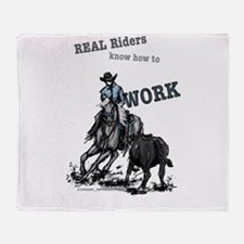 Real Western Cutting Horse Throw Blanket