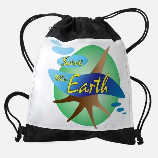 Save the earth Drawstring Bag