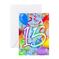 15th Birthday Card With Balloons
