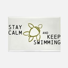 Turtle, Stay Calm Keep Swimmin Rectangle Magnet
