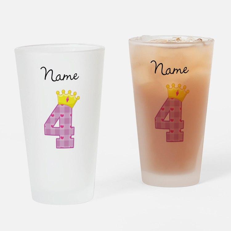 Personalized Princess 4 Drinking Glass