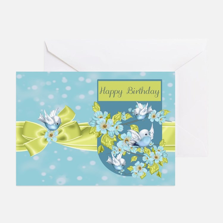 Bluebird Birthday Greeting Card (Pk of 10)