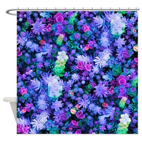 florescent purple floral shower curtain by ohsogirlytkdesigns