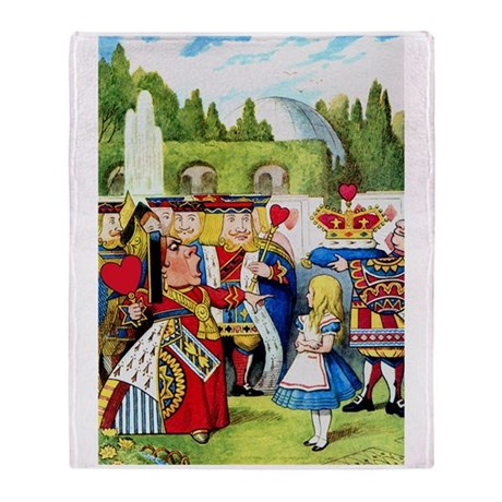 Alice and the Queen of Hearts Throw Blanket
