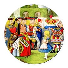 Alice and the Queen of Hearts Round Car Magnet