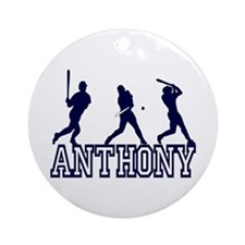 Baseball Anthony Personalized Ornament (Round)