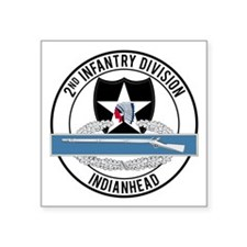 "2nd ID CIB Indianhead Square Sticker 3"" x 3"""